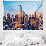ABAKUHAUS Vereinigte Staaten Wandteppich & Tagesdecke, Dallas Sunset, aus Weiches Mikrofaser Stoff Wand Dekoration Für Schlafzimmer, 150 x 110 cm, Mehrfarbig