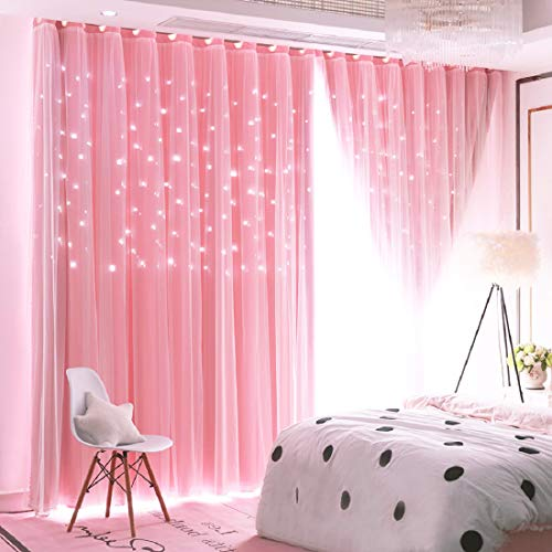 Unistar 2 Panels Stars Blackout Curtains for Bedroom Girls Kids Baby Window Decoration Double Layer Star Cut Out Aesthetic Living Room Decor Wall Home Curtain,W52 x L63 Inches,Pink