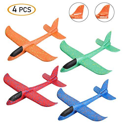 EKKONG Segelflugzeug, Flugzeug Styropor, Modell Schaum Flugzeug, Manuelles Werfen Spielzeug, Outdoor Sport Spielzeug für Kinder (4 stücke )