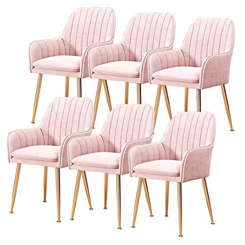 ZYXF Esszimmerstuhl 6-TLG. Set Esszimmerstühle Velvet Dining Chairs Früher Moderner Stil Sessel mit Rückenlehne und gepolstertem Sitz Vergoldet Metallbeine Empfangsstühle zum Salon Wohnzimmer