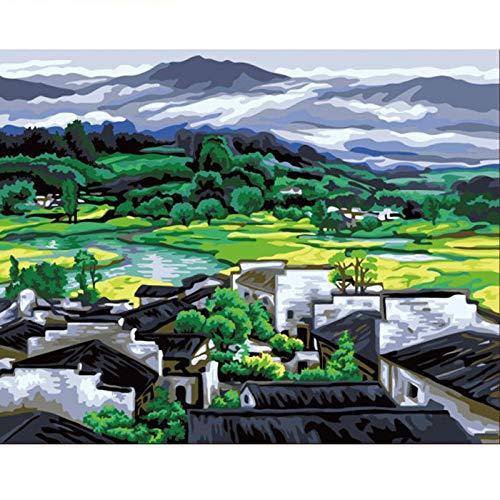 Pintar por Numeros para Adultos y Niños, Escena rural DIY Pintura por Números con Pinceles y Pinturas Decoraciones para 40 x 50 cm Sin Marco