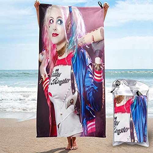 Adatto per palestra, sport, yoga, nuoto, campeggio, viaggi, borse e asciugamani da bagno, morbidi tappetini da yoga, asciugamani in microfibra Harley-Quinn ad asciugatura rapida