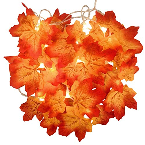 Shenykan Christmas Wreath Decorated Maple Leaf Lamp String Thanksgiving Decorations Orange Light Outdoor Interior Decoration - Orange - 2m