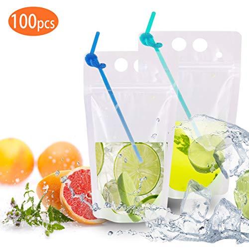 100 Stück Reißverschluss-Plastik-Trinkbeutel mit Strohhalm-Ausgussbeutel für flüssigen Saft, Milchkaffee, Verpackungsbeutel für flüssige Getränke,