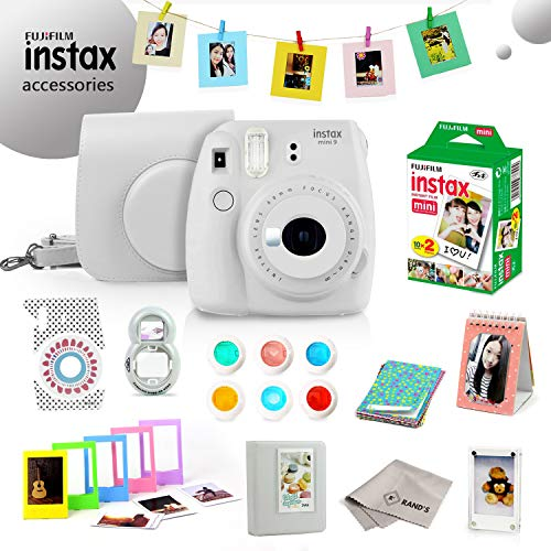 Fujifilm Instax Mini 9 Bundle (Smokey White) - Fuji Camera Instant Film (20 Sheets) + 11-in-1 Accessory Bundle – Carry Case, 6 Color Filters, 2 Photo Albums, Assorted Frames, Selfie Lens & Much More