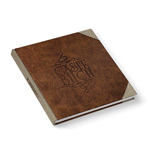 Hochzeitsgästebuch Gästebuch edel LEDER-NOSTALGIE-LOOK braun beige quadratisch 21 x 21 cm für...