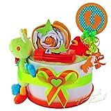Torta di Pannolini/Pampers torta  Baby regalo per ragazze e ragazzi in tonalità a 3colori. (bianco/verde/arancione)//Regalo per nascita, battesimo, Baby party//originale e idea regalo per neonati