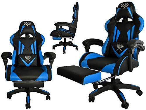 MALATEC Gaming Stuhl Bürostuhl Schreibtischstuhl mit Fußstützen Kissen Ergonomisch 8978