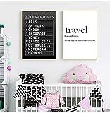 ZHJJD Tablero del Aeropuerto Destino Cartel en Blanco y Negro Pintura en Lienzo Arte de la Pared Luna de Miel Citas de Viaje Imágenes Decoración del hogar 50x70cmx2 Sin Marco