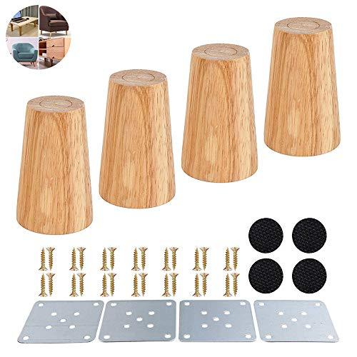 4 Stück Holz Sofafüße 8cm/20cm Möbelfüße, Holz Möbelfüße, Aus Eiche für Sofa, Schrank und Bett, mit Schrauben und Filzgleiter (Gerade Füße 8cm)