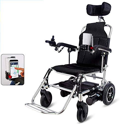 Silla de Ruedas eléctrica Plegable, Súper ligero Silla de ruedas eléctrica con el apoyo for la cabeza, plegable y ligero silla de ruedas eléctrica, batería de litio 24A, 360 ° Joystick, pesa solamente