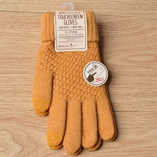 Winter Touchscreen Handschuhe Frauen Männer Warm Stretch Strickhandschuhe Vollfinger Guantes Weiblich Häkeln Luvas Verdicken-Yellow