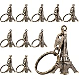 Outus 15 Pieces Eiffel Tower Keyring Retro Adornment French Souvenirs Keychains (Bronze)