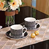 Alta temperatura resistencia al calor Porcelana Negro Tazas de café hueso China Tazas de té y platillos Set Nórdico Casa Cocina Accesorios Decoración Regalos de lujo para Boss Idea interesante