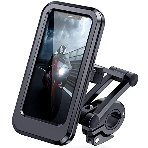 """DesertWest Bike Phone Holder Universal Waterproof Cell Phone Holder for Motorcycle - Bike Handlebars, Bicycle Mobile Phone Box Case with Touch Screen Fits iPhone 12/ Pro, Samsung Galaxy S10 Under 6.5"""""""