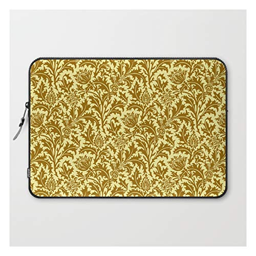 William Morris Thistle Damask in Mustard Gold by Mm Gladden on Laptop Sleeve - Laptop Sleeve - 15'