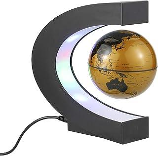 مجسم الكرة الأرضية العائمة المغنطيسي 7.62 سم مع مصابيح ليد على شكل حرف C خريطة العالم للكرة الأرضية للمنزل والمكتب وديكور ...