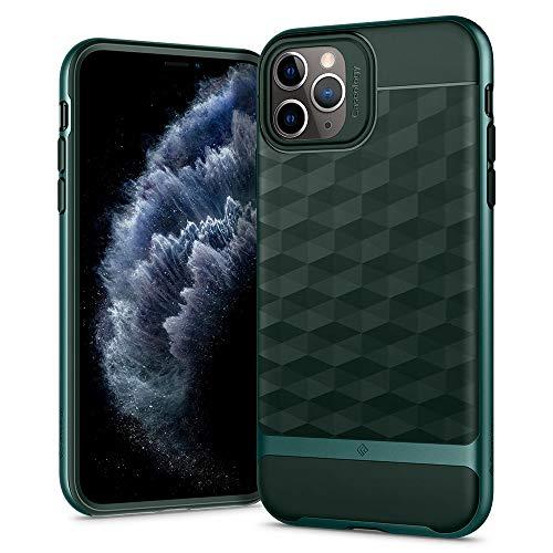 Caseology Parallax Compatibel met iPhone 11 Pro Case, Groen 3D Schokbestendig beschermend geometrisch patroon Hoes, iPhone 11 Pro Hoesje (Midnight Green)