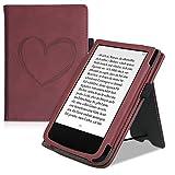 kwmobile Funda Compatible con Pocketbook Touch Lux 4/Lux 5/Touch HD 3/Color (2020) - Agarre elástico y Soporte de Apoyo - Dibujo de corazón Rojo Oscuro