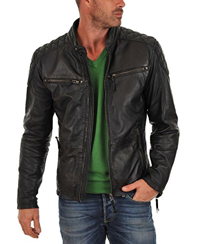 Laverapelle Men's Genuine Lambskin Leather Jacket (Black, Extra Small, Polyester Lining) - 1501225