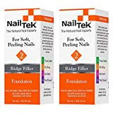 Nail Tek Foundation 2, Ridge Filling Strengthening Base Coat for Soft and Peeling Nails, 0.5 oz, 2-Pack