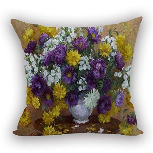 Nunubee Housse Coussin Coussin Decoration canapé Deco canapé scandinave Deco, Vase Blanc Violet Blanc Jaune Fleur 45x45CM