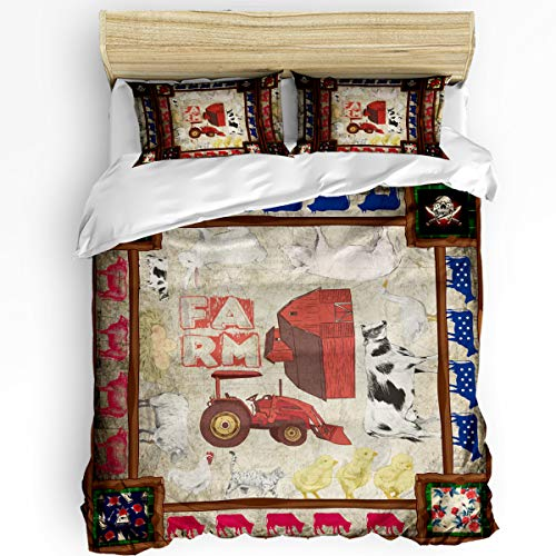 YEHO Art Gallery Twin Size Softer Duvet Comforter Cover Set for Kids Bedding Set,Retro Farm Animal and Car Pattern Comforter Cover Set,Include 1 Duvet Cover with 2 Pillow Cases