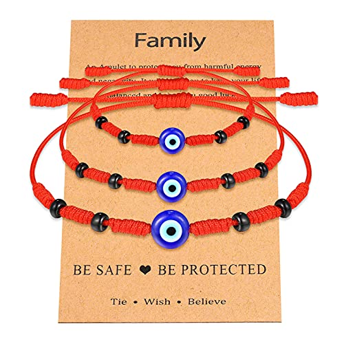 Evil Eye Red Bracelet for Girls Boys Women Men Family Mal De Ojo Red String Kabbalah Nazar Amulet Bracelets Set for Protection