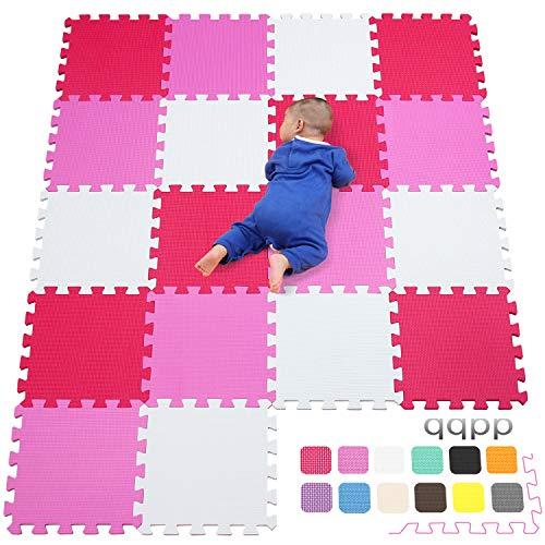qqpp EVA Puzzle Tapis Mousse Bebe - Idéal pour Les Tapis De Jeux Enfant,18 Dalles(30*30*1cm),Blanc,Rose,Rouge.QQC-ACIb18N