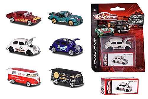Majorette 212052016 Vintage Deluxe Assortment, Die-Cast Fahrzeug, con scatola da collezione, pneumatici in gomma, ruota libera, multicolore, [Modelli, Assortiti], 1 Pezzo