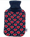 Bolsa de agua caliente axion - incluye funda/forro de algodón azul con corazones
