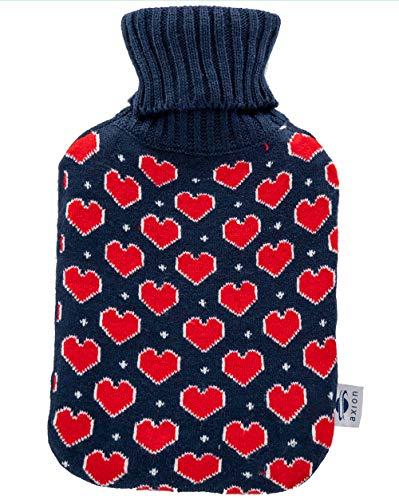 Bolsa de agua caliente con funda axion + Incluye funda corazones para un uso seguro | Para calentar pies o para calentar cama | Capacidad aprox. de 2 litros