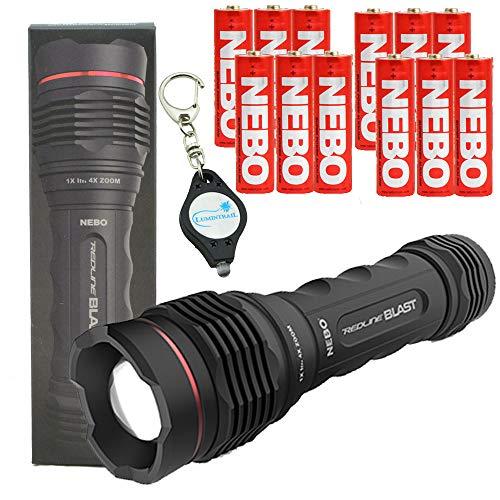 NEBO Redline Blast 1400 Lumen LED Flashlight with 12 Nebo AA Batteries and Lumintrail Keychain Light