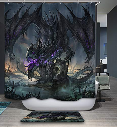 Black Dragon Shower Curtain, Gothic Clan Dragon Skeleton Field Shower Curtain Bathroom Decor
