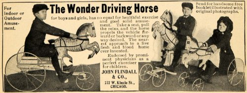 1901 Ad John Flindall Wonder Driving Horse Riding Toy - Original Print Ad