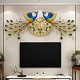 LIPENGWEI Casa Creativo Pavo Real Grande Decoración Relojes De Pared,Salón Nórdico Moda Viento Chino Mudo Cuarzo,Simple Hotel Centros Comerciales Reloj-Un 156x56cm