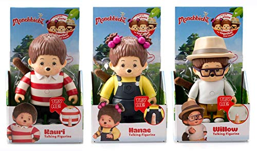 Monchhichi 13cm Articulated Talking Figures with 15 Phrases Super Cute - Hanae, Willow & Kauri - Set of All 3