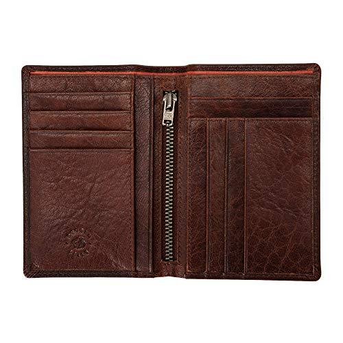 Nuvola Pelle schlanke Herrenbrieftasche aus Leder im Hochformat Kartensteckfächer Fächer für Dokumente und Geldscheine mit Reißverschluss Braun