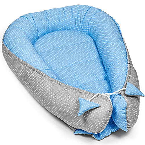 Babynest nestchen Baby Nest - babynestchen groß Kokon kuschelnest für Neugeborene Babybett liegekissen 90 x 50 cm (90 x 50 cm, weiße Tupfen auf blau)