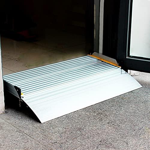 LSMK Rampe Rampa Rampa di Ingresso in Alluminio Aluminum per Porta, Rampa per Sedia A Rotelle Rampe della Soglia di Transizione del Ponte per Scooter Moto Disabili, con Superficie Antiscivolo