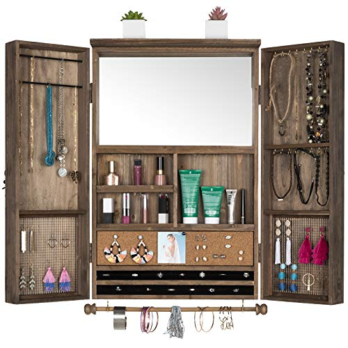 Large Rustic Wall Mounted Jewelry Organizer with Wooden Barndoor Decor. Jewelry holder for Necklaces, Earings, Bracelets, Ring Holder, and Accessories. Includes built-in mirror (Brown).