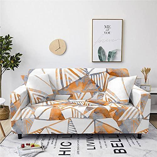 Fundas para Sofa 4 Plazas Funda de Sofa Elastica Cubre Sofa Cubresofá Funda Cubierta para sofá Ajustable Protector Lavable Funda de sillón para sofá 225-290cm, Geometría Triángulo Amarillo Blanco