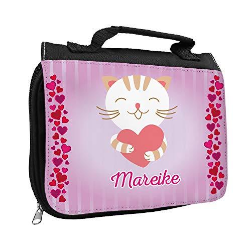 Kulturbeutel mit Namen Mareike und Katzen-Motiv mit Herzen für Mädchen | Kulturtasche mit Vornamen | Waschtasche für Kinder