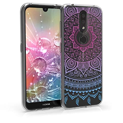 kwmobile Hülle kompatibel mit Nokia 4.2 (2019) - Hülle Handy - Handyhülle - Indische Sonne Blau Pink Transparent