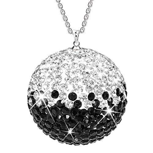SAVORI Car Rear View Mirror Ornament Hanging Lucky Ball Rhinestone Charm Sparkly Auto Decoration Christmas Crystal Pendant Bling Car Accessories for Women (Black White)