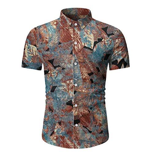 serliy Herren Hawaiihemd Kurzarm Baumwolle Button Down Freizeit Hemd 3D Gedruckt Muster Aloha Shirt für Reise Strand