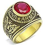 ISADY - US Army Rubin - Herren-Ring - 585er 14K Gold platiert - Zirkonium Rot - T 62 (19.7)