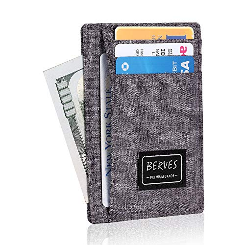 BERVES Men Womens Front Pocket Genuine Leather Card Wallets with RFID Blocking