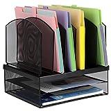 TOROTON Organizador de escritorio de malla, organizador de archivos de escritorio, bandeja de archivos con doble bandeja y 6 secciones verticales, soporte multifuncional para oficina, escuela