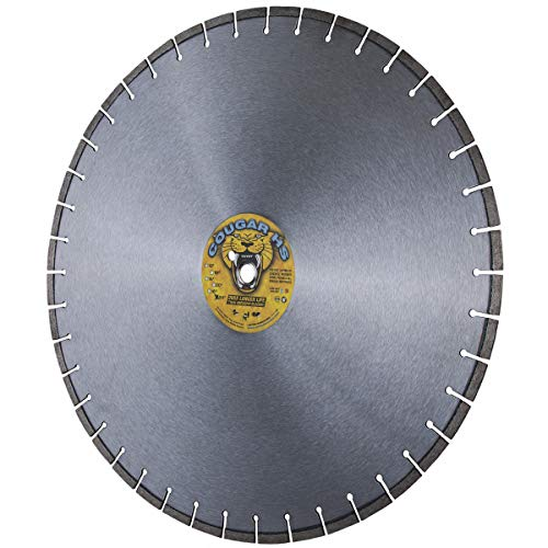 Cougar HS 24-Inch (24') X .140 X 1' Arbor Wet/Dry Diamond Blade for 10-35 HP Concrete Walk-Behind Saws, Larger Masonry Saws, Stone, Pavers and Similar Materials (24')